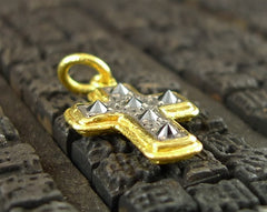 ARA 24K Collection Black Diamond Cross Pendant in Pure Gold and Oxidized Silver