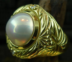 Estate Mabe Pearl and Diamond Ring in  18K Yellow Gold