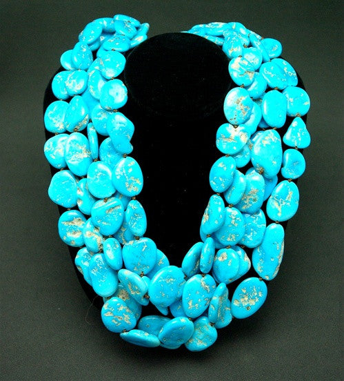 Churchill Private Label Sleeping Beauty Turquoise and 22K Yellow Gold Torsade Necklace