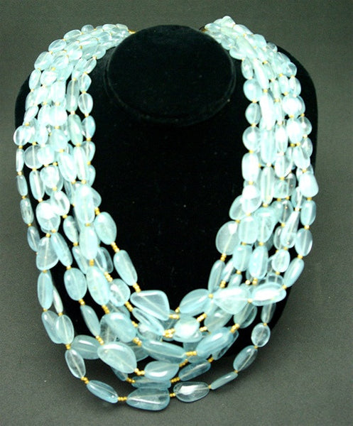 Churchill Private Label 22K Yellow Gold and Seven Strand Aquamarine Beaded Torsade Necklace