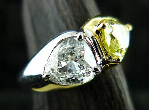 Estate Yellow and White Diamond Ring  in 18K Yellow Gold