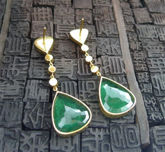 Amrapali Estate 22K Yellow Gold, Emerald and Diamond Earrings
