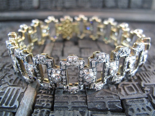 Early Art Deco 18K and Fine Silver Diamond Link Bracelet
