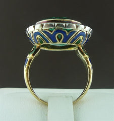 Antique Emerald Ring in Enameled 18K Yellow Gold with Diamond Surround