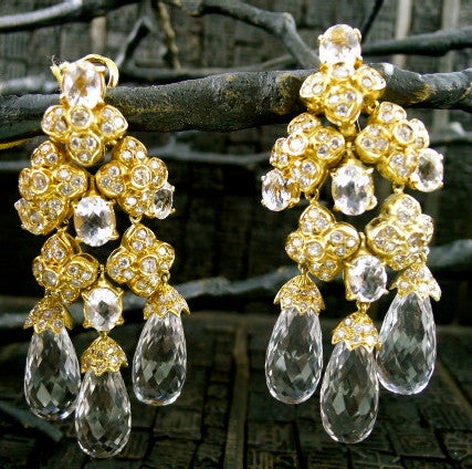 Estate 18K Yellow Gold, Diamond and White Topaz Chandelier Earrings