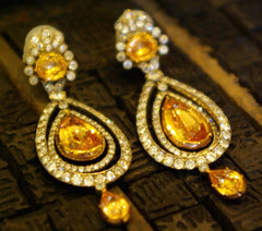 Rare Imperial Topaz and Diamond Earrings in 18K Yellow Gold