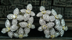 Estate Diamond Flower Earrings in 18K Yellow and White Gold