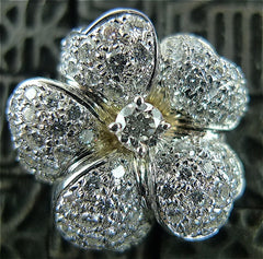 14K White Gold and Diamond Flower Earrings