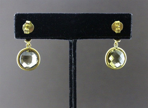 Susan Gordon Smoky Quartz Earrings 22k Yellow Gold