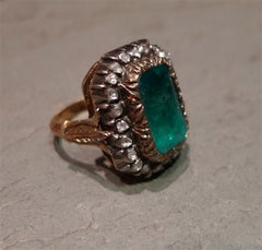 Estate 18K Yellow Gold, Diamond, and Emerald Ring