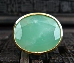 Beth Orduna 18K Yellow Gold and Chrysoprase RIng