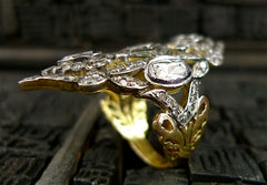 Vintage Indian 14K Yellow Gold, Silver and Moghul Diamond Ring