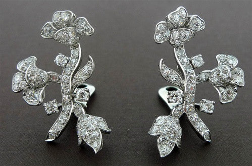 Estate Diamond Clip Earrings in 18K White Gold