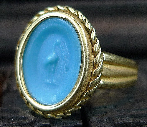 Estate Turquoise Faience Ring 18K Yellow Gold