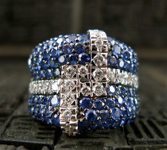 Estate Blue Sapphire Diamond Wide Band Ring in 18K White Gold