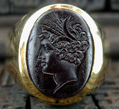 Estate Black Onyx Cameo Ring 14K Yellow Gold