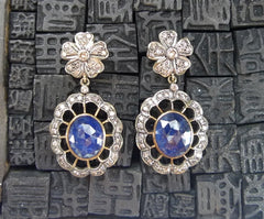Estate Deep Blue Sapphire and Diamond Drop Earrings in 18K Gold and Silver