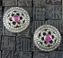 Estate Diamond and Ruby 20K Gold  and Sterling Silver Earrings