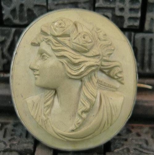 Estate Volcanic Cameo Brooch in Sterling Silver