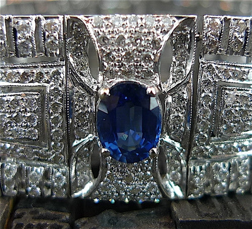 Estate Art Deco Style Sapphire and Diamond Bracelet in 18K White Gold