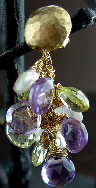 Talisman Unlimited Amethyst, Moonstone and Lemon Quartz Briolette Earrings in 14K Yellow Gold