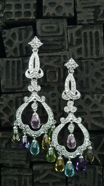 Estate Briolette Diamond Chandelier Earrings in 14K White Gold with Multi-Colored Sapphires