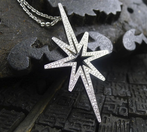 Ron Hami 18K White Gold and Diamond Star Necklace
