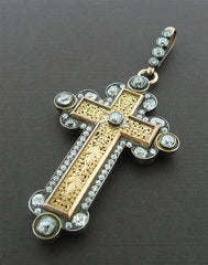 Elaborate Early 19th Century Antique Venetian Cross/Pendant in 18K Yellow Gold and Diamonds
