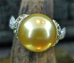 Estate Golden South Sea Pearl and Cognac Diamond Ring in 18K White Gold