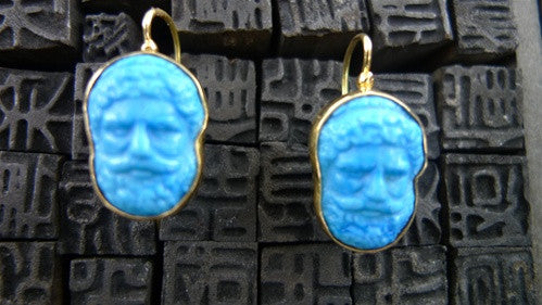 Estate  Turquoise Blue Faience Earrings 18K Yellow Gold