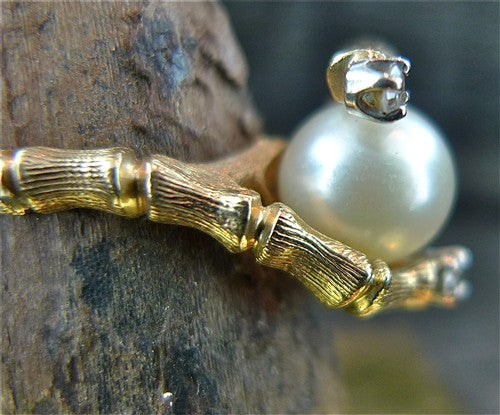 Estate Pearl and Diamond Ring in Bamboo Design 14K Yellow Gold