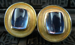 Estate 14K Yellow Gold and Barrel Cabochon Blue Topaz Earrings
