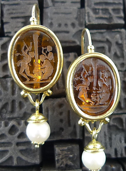 Estate Glass Intaglio Earrings in 18K Yellow Gold with Pearl Drop