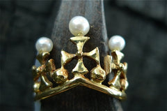 Estate 18K Yellow Gold Crown Ring with Pearls