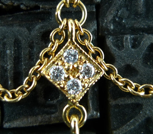 Kamofie Two Tone 18K Yellow Gold and Diamond Necklace