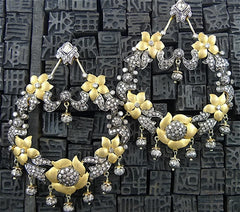 Churchill Private Label 18K Yellow Gold and Blackened Silver with Diamond Chandelier Earrings