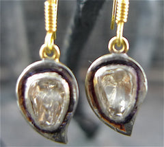 Churchill Private Label Moghul Diamond Earrings in 18K Yellow Gold and Blackened Silver