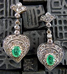 Estate 18K Gold, SIlver, Diamond and Emerald Heart Earrings