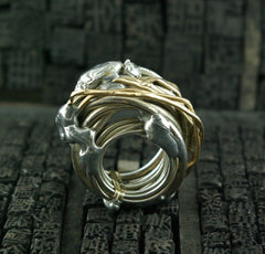 Lorenza Diamond Wrap Ring in 18K Gold and Sterling Silver