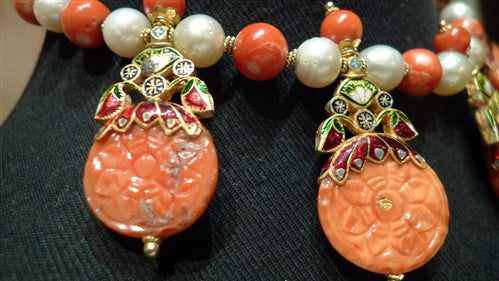 Amrapali 22K Yellow Gold, Coral, Pearl, and Diamond Necklace- One of a Kind