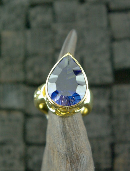 Marisa Perry 18K Yellow Gold and Lab Created Blue Sapphire Pear RIng