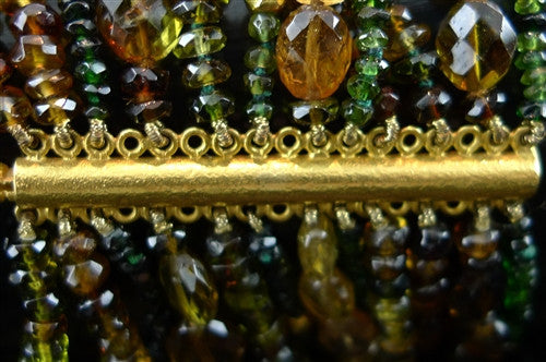 Paola Ferro Citrine Chromium Diopside and Labradorite Multi Strand Bracelet with 18K Yellow Gold Closure