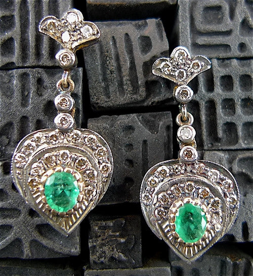 Antique 18K Gold and Sterling with Diamonds and Emerald Heart Earrings