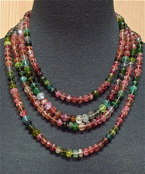 CHURCHILL Private Label Mixed Watermelon Tourmaline Necklace 18K Yellow Gold