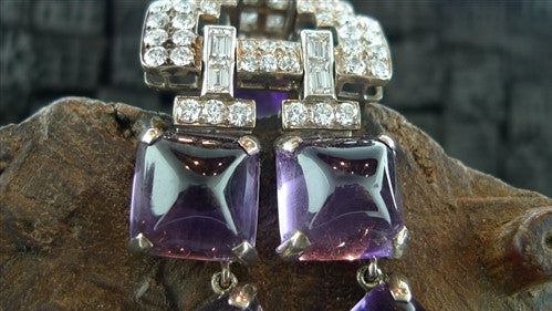Estate Platinum, Amethyst, and Diamond Necklace