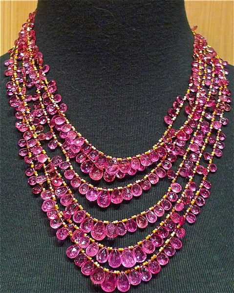 Churchill Private Label 5 Strand Necklace of Fine Quality Pink Tourmalines and 22K Yellow Gold Beads and Clasp