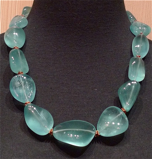 CHURCHILL Private Label Polished Aquamarine Bead Necklace 22K