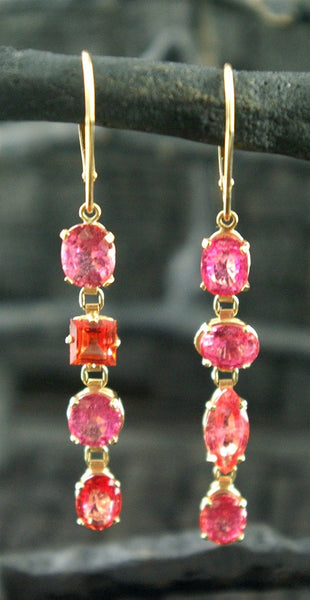 Churchill Private Label 18K Yellow Gold and Padparadscha Sapphire Earrings