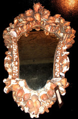 Antique 19th Century Plaster and Shell Mirror