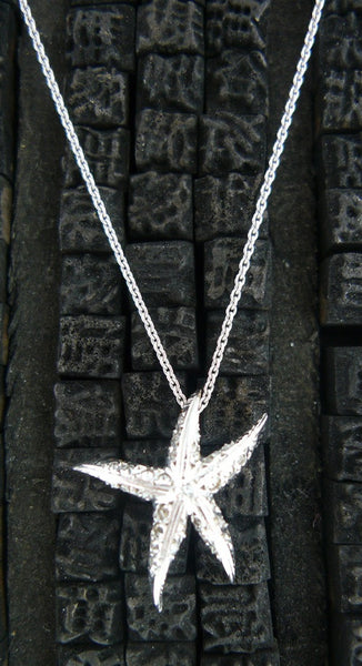 Umlaut 18k White Gold and Diamond Starfish Pendant Necklace